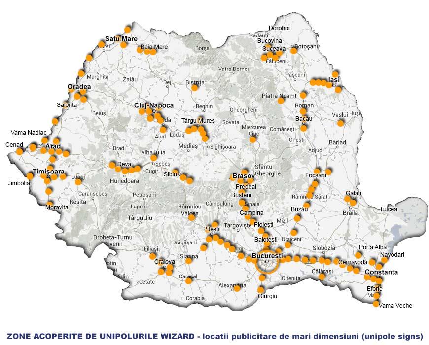 Harta Panourilor Publicitare Wizard Media Unipoluri Pe Autostrazi