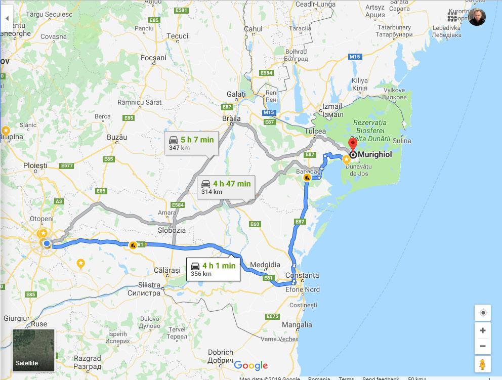 Harta Traseului Bucuresti Tulcea Via Autostrada Soarelui